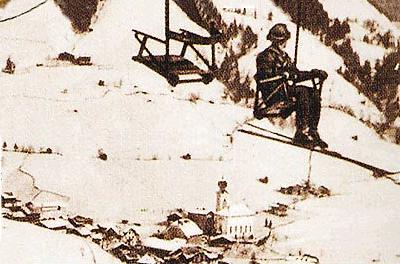eerste stoeltjes lift 1947